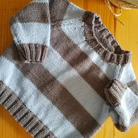 Hand Knitted Baby Blue and Grey Striped Jumper 6-12 months