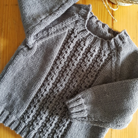 Hand Knitted Child's Light Grey Jumper age 1-2 years