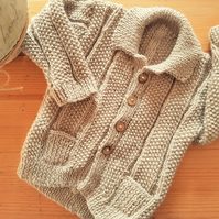 Hand Knitted  Baby Cardigan with collar and pockets 18""