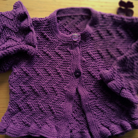 Girl's Hand Knitted Cardigan with frilly edge 22""