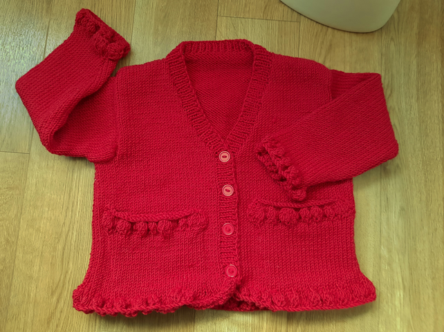 Girl's Ruby Red Merino Wool Cardigan 22""