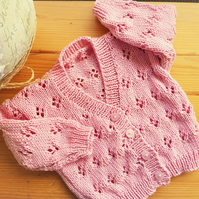 Pink Cotton Eyelet Pattern Hand Knitted Cardigan 18""