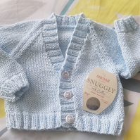 Soft Cotton Pale Blue Baby Cardigan 16""