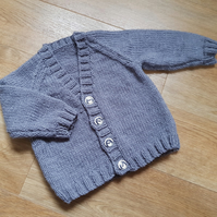 Hand Knitted Grey baby Cardigan 18""