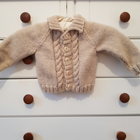 "Hand Knitted Baby Boy's Cardigan 20"" Chest"