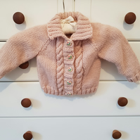 "Hand Knitted Baby Girl's Pink Cardigan 20"" chest"