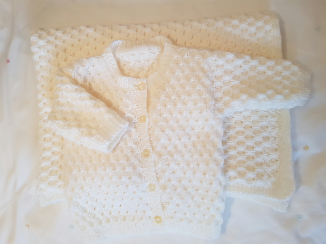 Hand Knitted Cream Baby Cardigan and Blanket Set