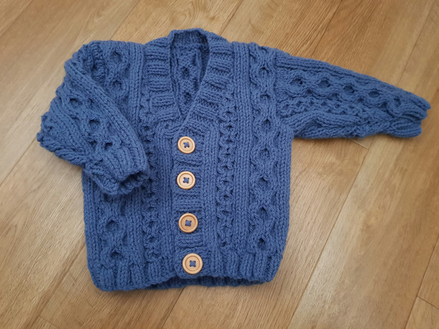 Baby Boys Blue Hand Knitted Cardigan 6-12 months