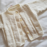 "Cream Baby Cardigan 16"" chest"