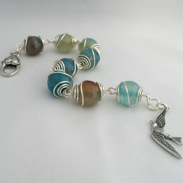 Bracelet - Wire Wrapped Turquoise Agate with Bird Charm