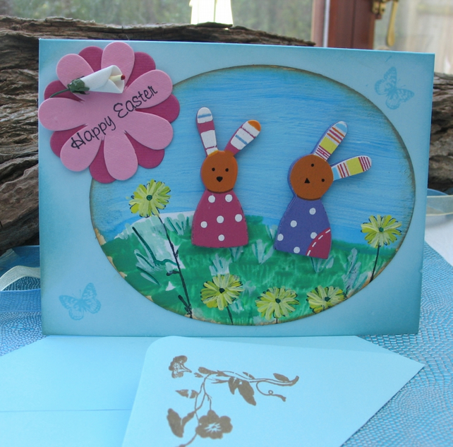 Easter Card - Wooden Rabbits