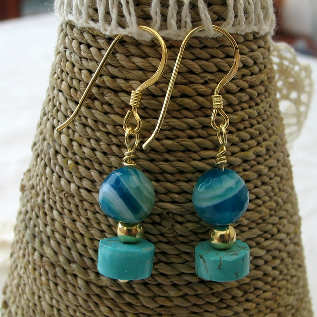 ONE DAY SALE Earrings - Turquoise Agate with Magnesite -  GP 925 Silver Wires