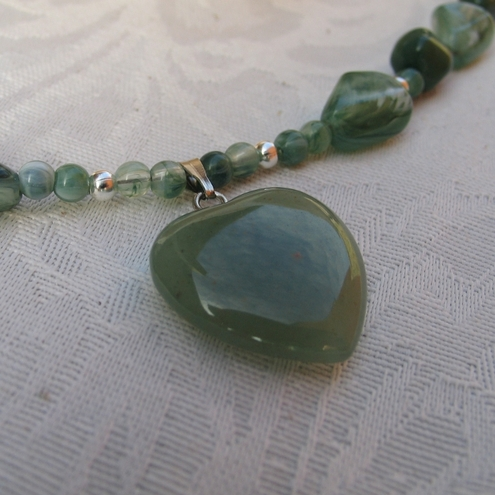 Shades of Green Necklace - with Jade Heart Drop