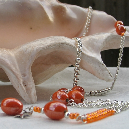 Orange Indian Bead Necklace