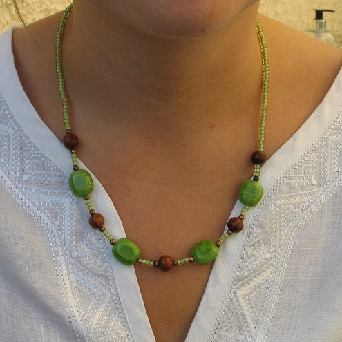 Green Glass and Wood Necklace *SALE*
