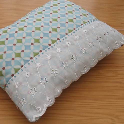 Turquoise Beaded Accent Cushion