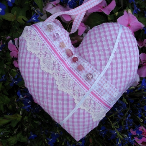 Pink Gingham Fragranced Heart