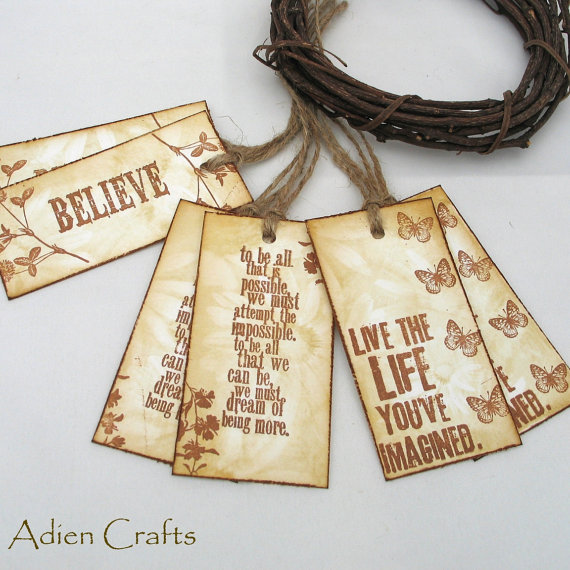 inspirational quotes gift tags or product tags folksy