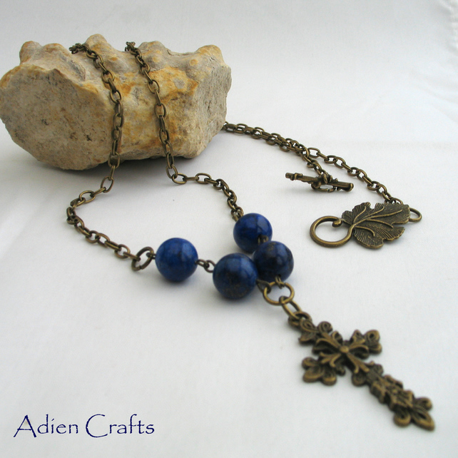 Bronze Cross Necklace with Lapis Lazuli