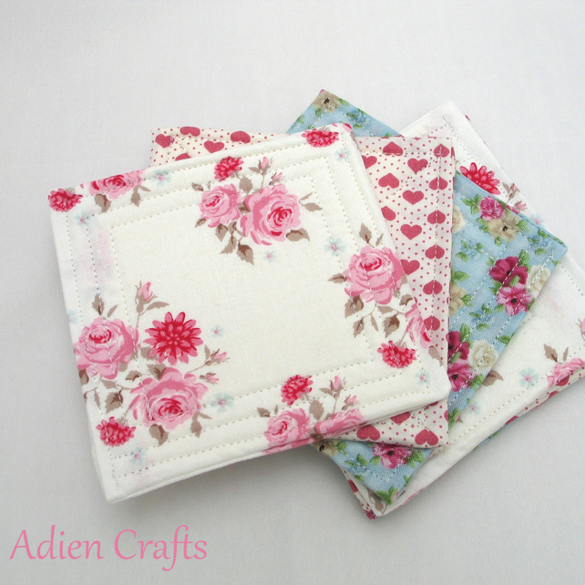 Fabric Coaster Set of 6 Shabby Chic Roses