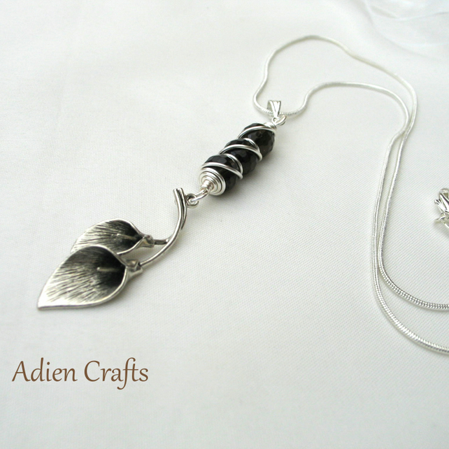 On Offer - Calla Lily and Smoky Quartz Pendant Necklace