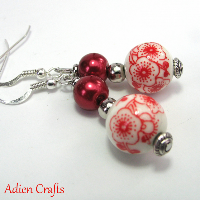 SALE Red Porcelain Bead Earrings