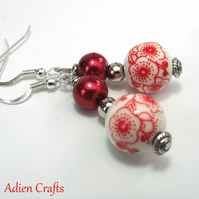 Red Porcelain Bead Earrings