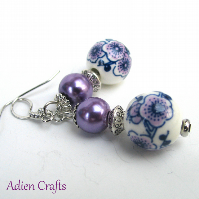Purple Flower Vintage Style Earrings