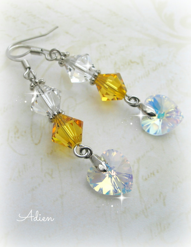 Yellow and White Earrings featuring Swarovski   Crystal