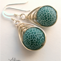 Green Crackled Agate Earrings