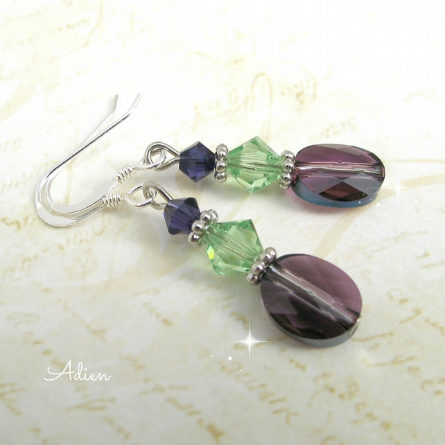 Amethyst Crystal Earrings with Swarovski, Sterling Silver