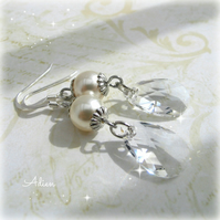 Pearl Earrings with Swarovski and Sterling Silver