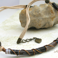 SALE Brown Agate Wire Wrapped Necklace