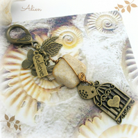 Fossil Agate Bronze Bag Charm