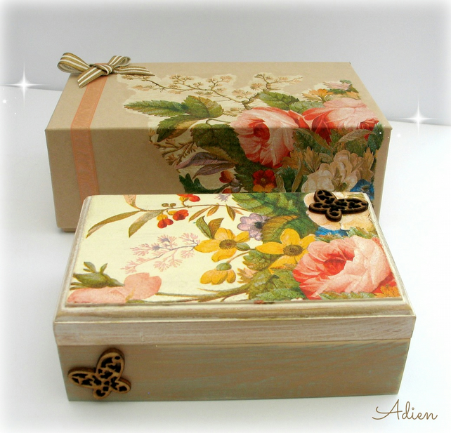 Hand Decorated Wooden Box with Gift Box Butterfly Flowers