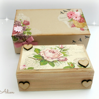 Hand Decorated Wooden Box with Gift Box Vintage Flowers
