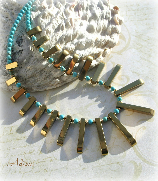 Haematite Gold Tribal Necklace with Turquoise