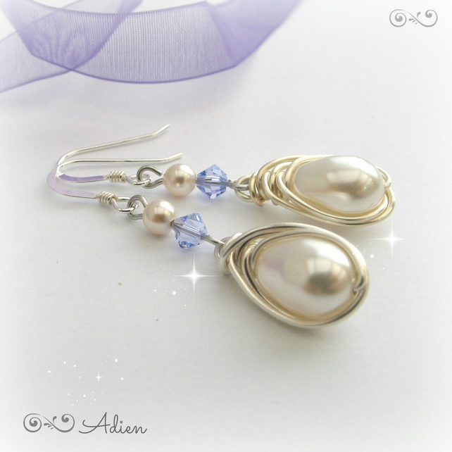 Pearl Drop Earrings with Swarovski and Sterling Silver