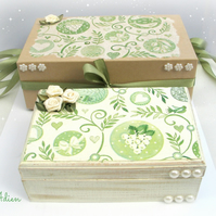 Green Wooden Jewellery Trinket Box