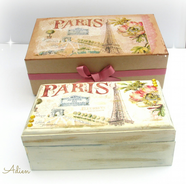 Paris Hand Decorated Wooden Box with Gift Box