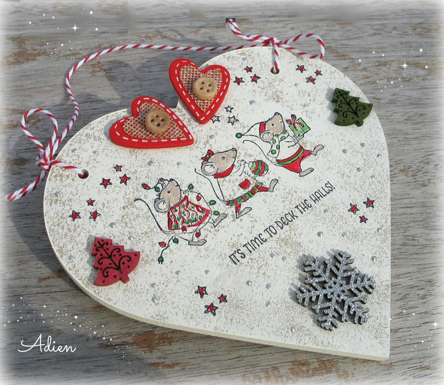 Christmas Mice Heart Decoration