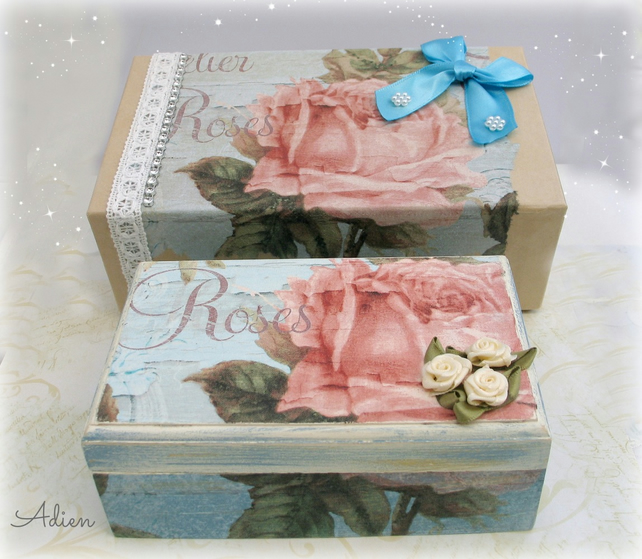 Hand Decorated Wooden Box with Gift Box Vintage Rose