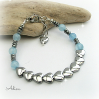 Haematite Hearts Bracelet with Blue Quartz
