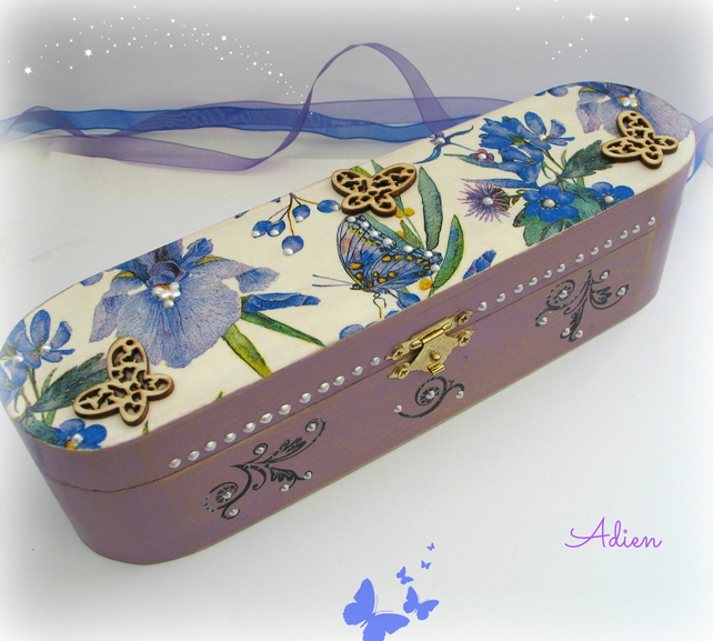 Pen and Pencil Box, Purple Floral Decorated Box