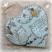 Blue Owl Heart Decoration