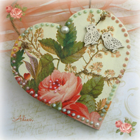 Flowers and Owls Heart Decoration