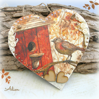 Robin Bird House Wooden Heart Decoration