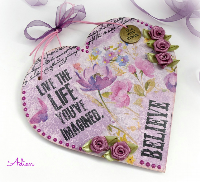 Inspirational Floral Wooden Heart