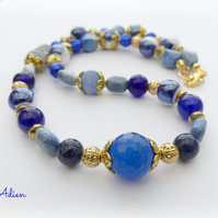 Blue and Gold Gemstone Necklace