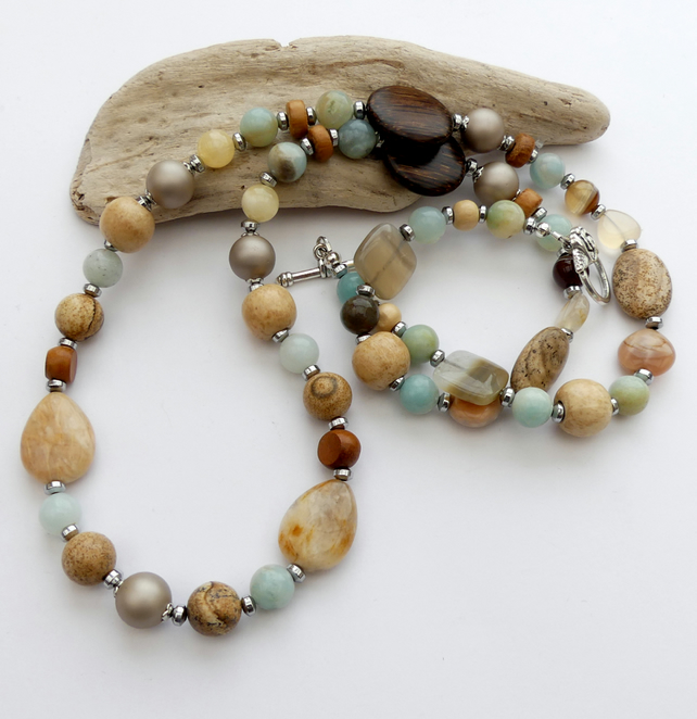 Sea and Sand Long Gemstone Necklace